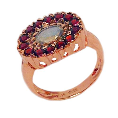 14k Rose Gold Garnets and Labradorite Ring - Baltinester Jewelry