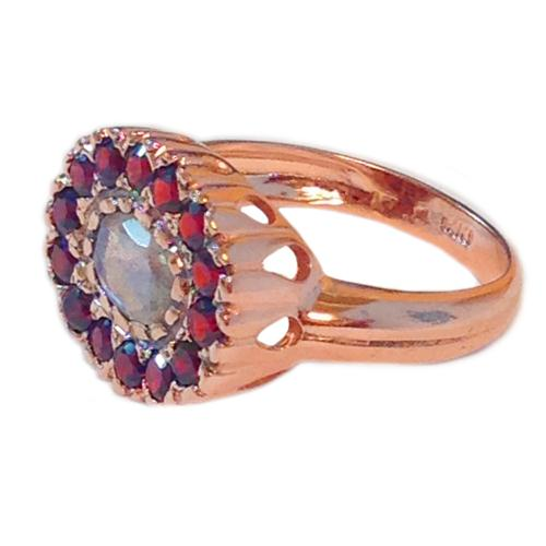 14k Rose Gold Garnets and Labradorite Ring 2 - Baltinester Jewelry