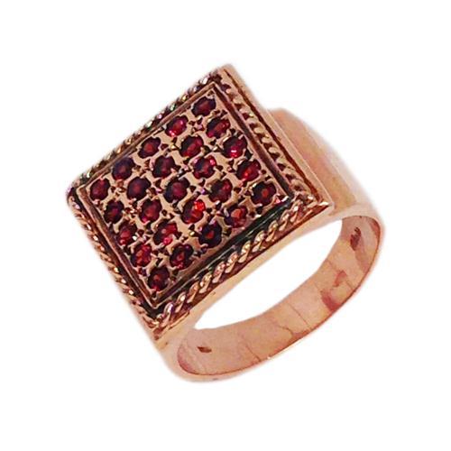 14k Rose Gold Square Garnet Ring - Baltinester Jewelry