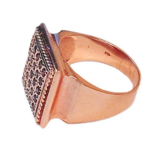 14k Rose Gold Square Garnet Ring 2 - Baltinester Jewelry