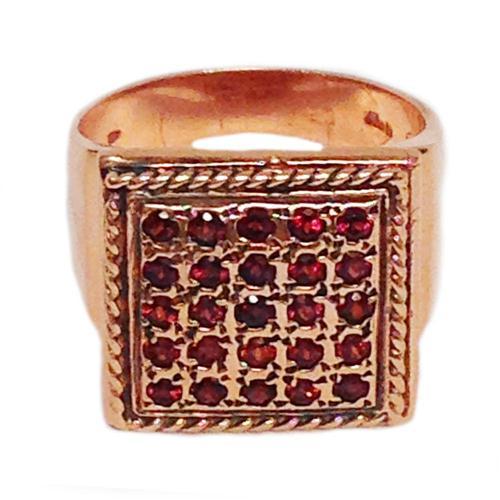 14k Rose Gold Square Garnet Ring 3 - Baltinester Jewelry