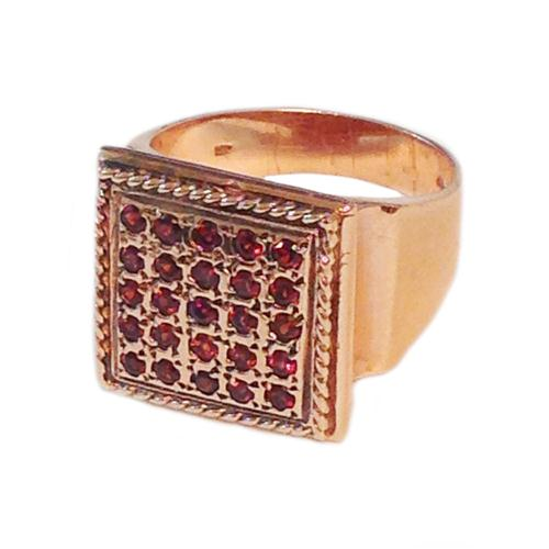14k Rose Gold Square Garnet Ring 4 - Baltinester Jewelry