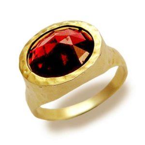 14K Hammered Gold Garnet Ring - Baltinester Jewelry