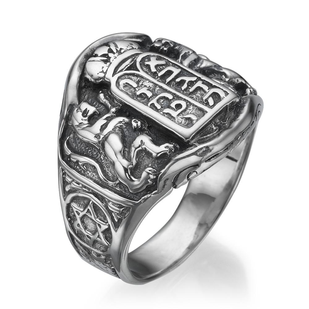Ten Commandments Lion of Judah Silver Men's Ring - Baltinester Jewelry