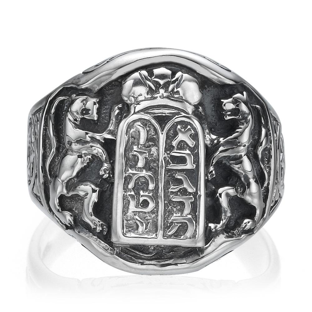 Ten Commandments Lion of Judah Silver Men's Ring 2 - Baltinester Jewelry