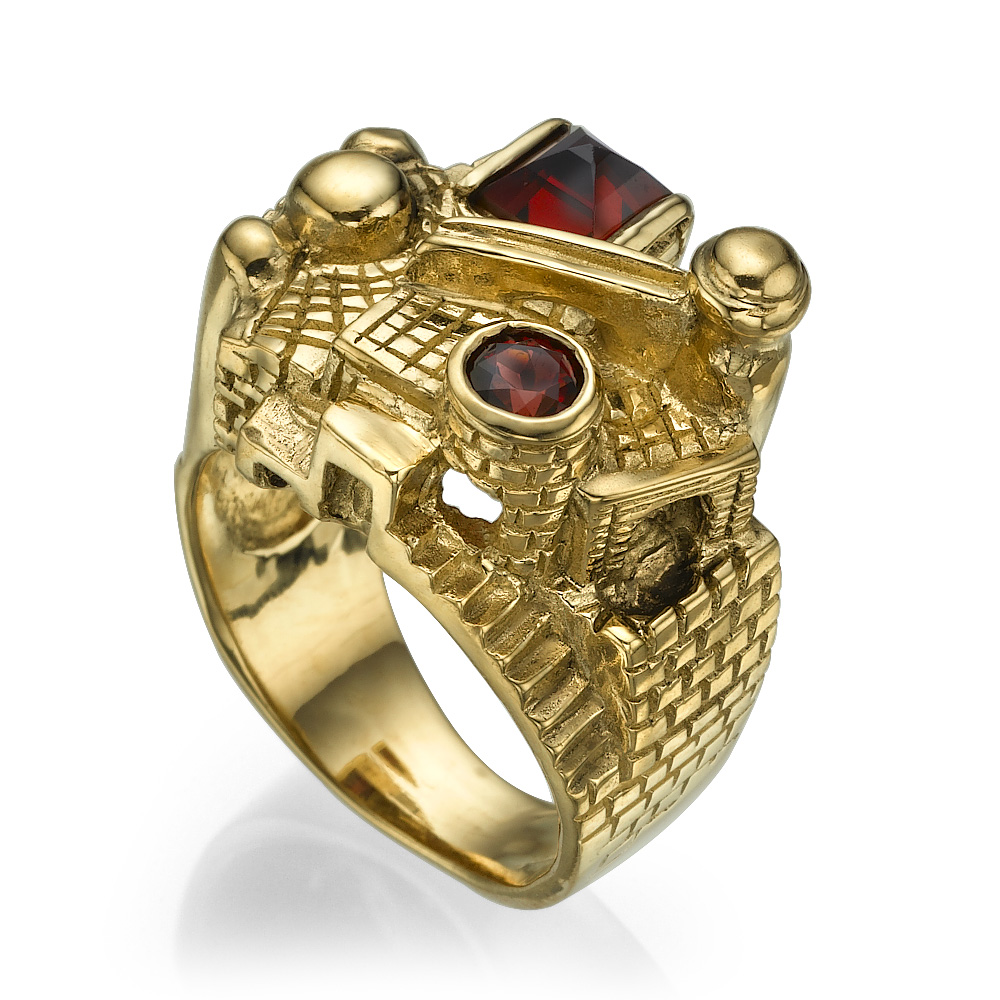 3D Jerusalem Garnet 14k Yellow Gold Statement Ring - Baltinester Jewelry