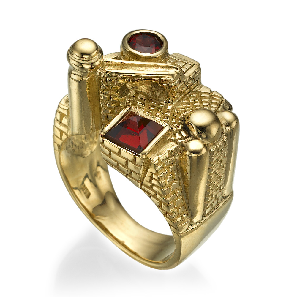 3D Jerusalem Garnet 14k Yellow Gold Statement Ring 2 - Baltinester Jewelry