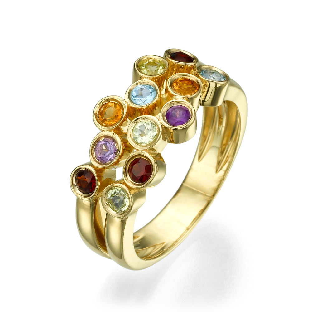 Asymmetric 14k Yellow Gold Multicolored Stone Ring - Baltinester Jewelry