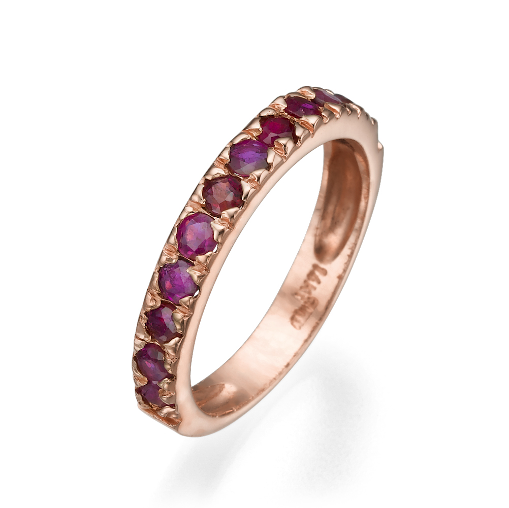 14k Rose Gold Ruby Eternity Band - Baltinester Jewelry
