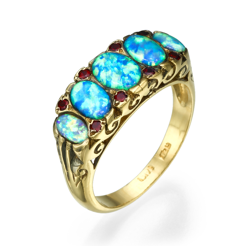 Blue Opal & Garnet Gemstones Filigree 14k Yellow Gold Ring - Baltinester Jewelry