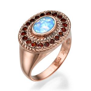 14k Rose Gold Opal Garnet Ethnic Oval Ring - Baltinester Jewelry