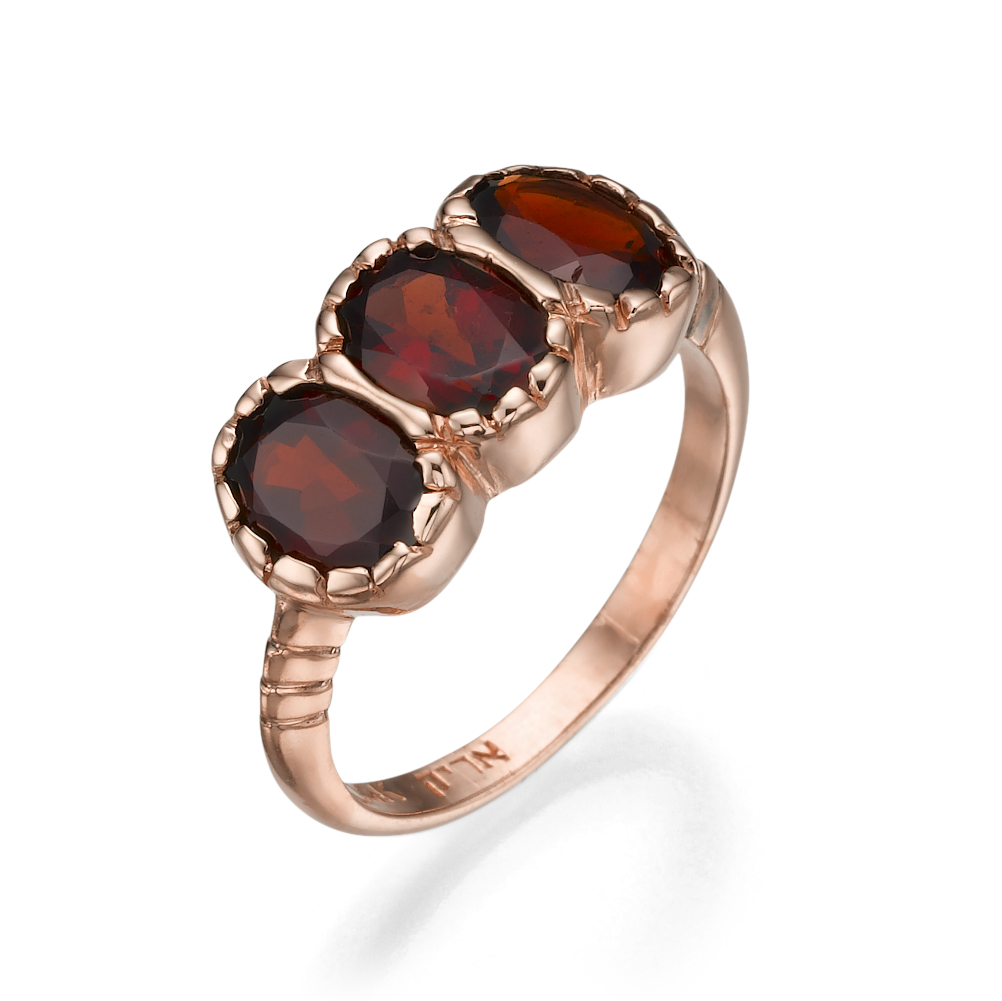14k Rose Gold Three Stone Garnet Ring - Baltinester Jewelry