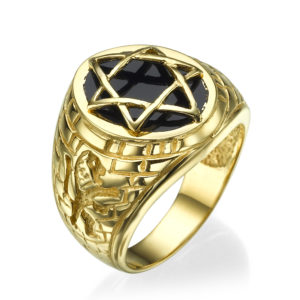 14k Yellow Gold Onyx Star of David Signet Ring - Baltinester Jewelry