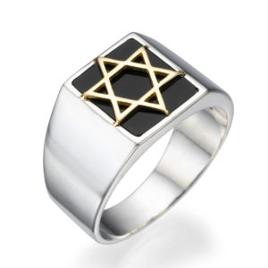 Silver & Onyx Star of David Ring with Hidden Lions of Judah - Baltinester Jewelry