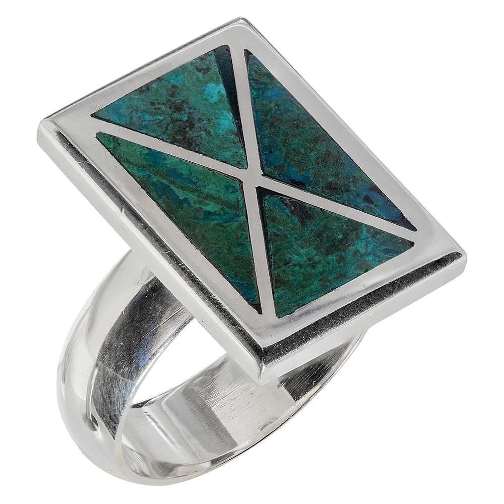Modern Rectangle Eilat Stone Silver Ring - Baltinester Jewelry