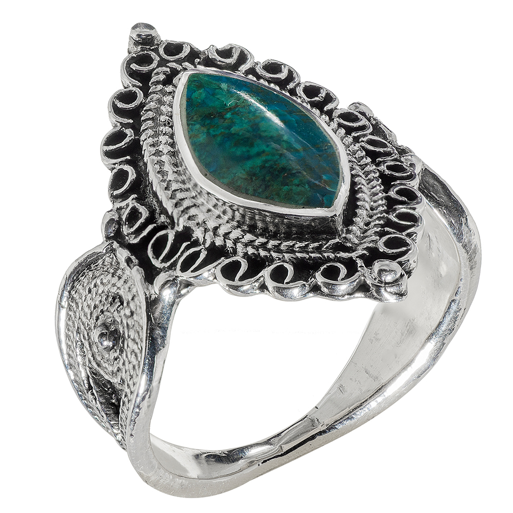 Adorned Marquise Eilat Stone Silver Ring - Baltinester Jewelry