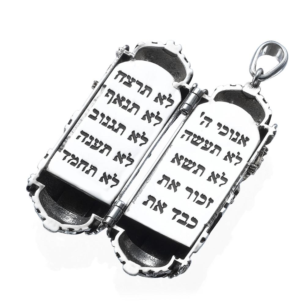 Silver & Gold Jewish Symbols Torah Pendant 2 - Baltinester Jewelry