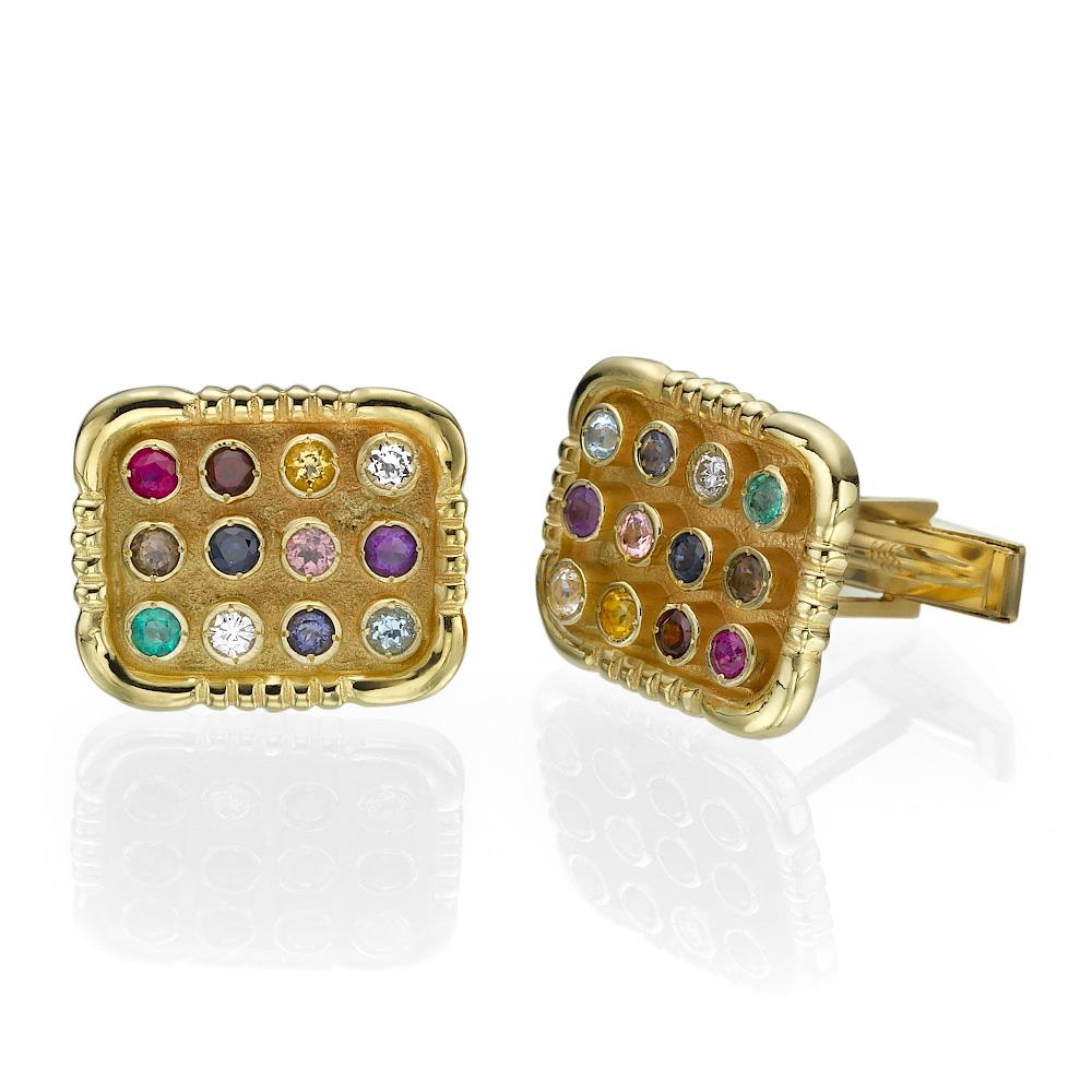 Elegant Choshen Cufflinks 12 Gemstones 14k Yellow Gold - Baltinester Jewelry