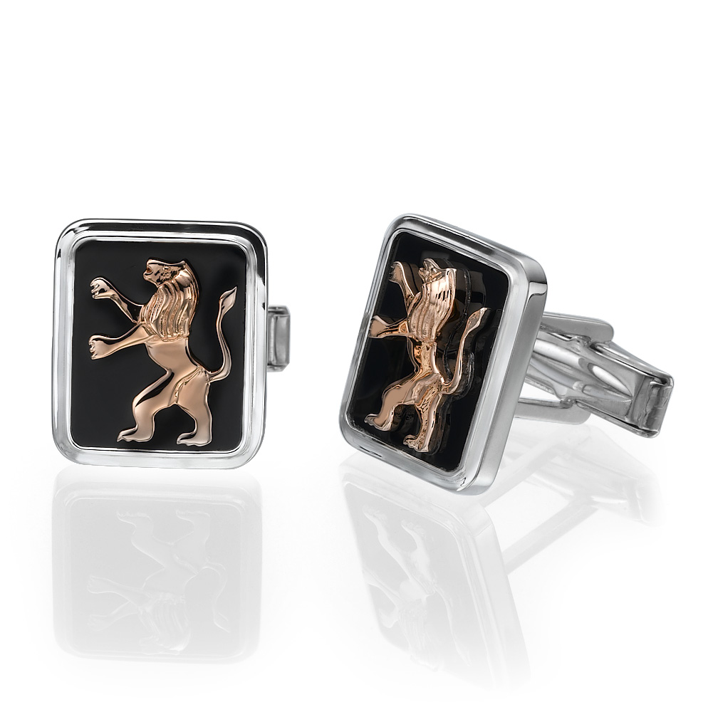 Sterling Silver 14k Rose Gold Lion of Judah Cufflinks - Baltinester Jewelry
