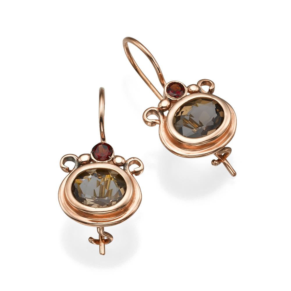 14k Rose Gold Smoky Topaz Garnets Pomegranate Hook Earrings - Baltinester Jewelry