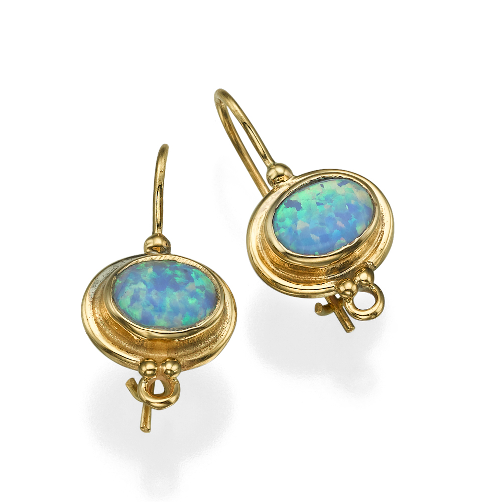 Blue Opal 14k Yellow Gold Hook Round Ethnic Oval Earrings - Baltinester Jewelry