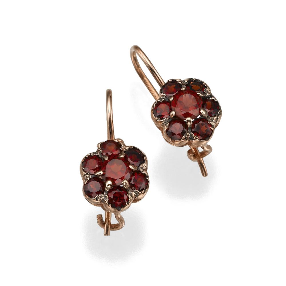 Flower Shaped Red Garnet 14k Rose Gold Earrings - Baltinester Jewelry