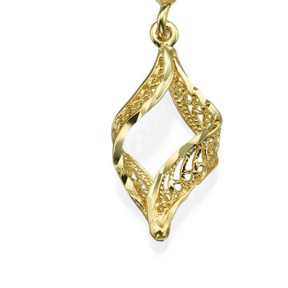 14k Yellow Gold Yemenite Filigree Dangle Earrings 2 - Baltinester Jewelry