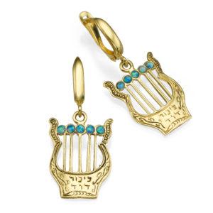 14k Gold Harp of David Opal Beads Dangle Earrings - Baltinester Jewelry