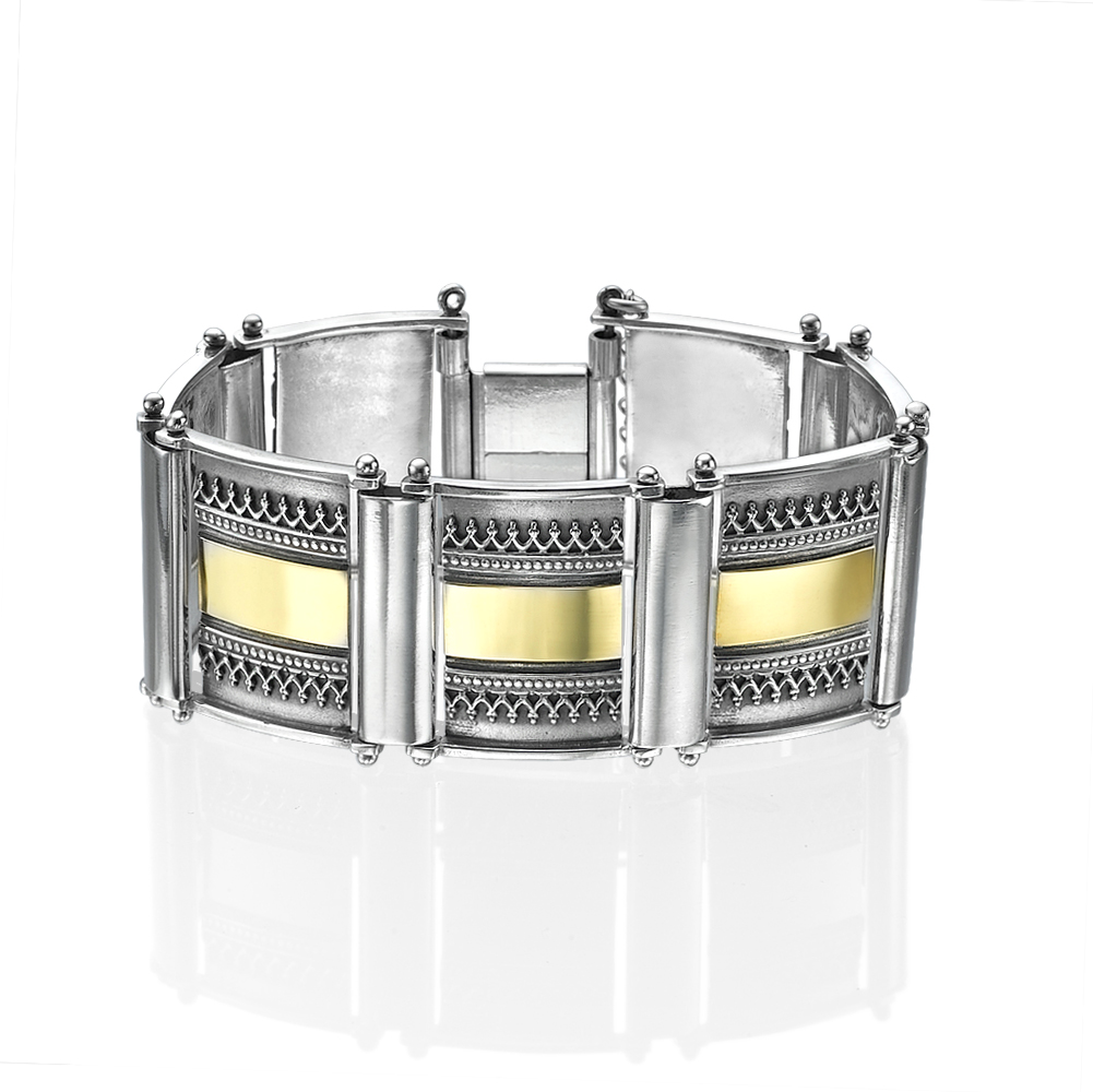 Silver and 14k Gold Yemenite Style Wide Tile Bracelet - Baltinester Jewelry