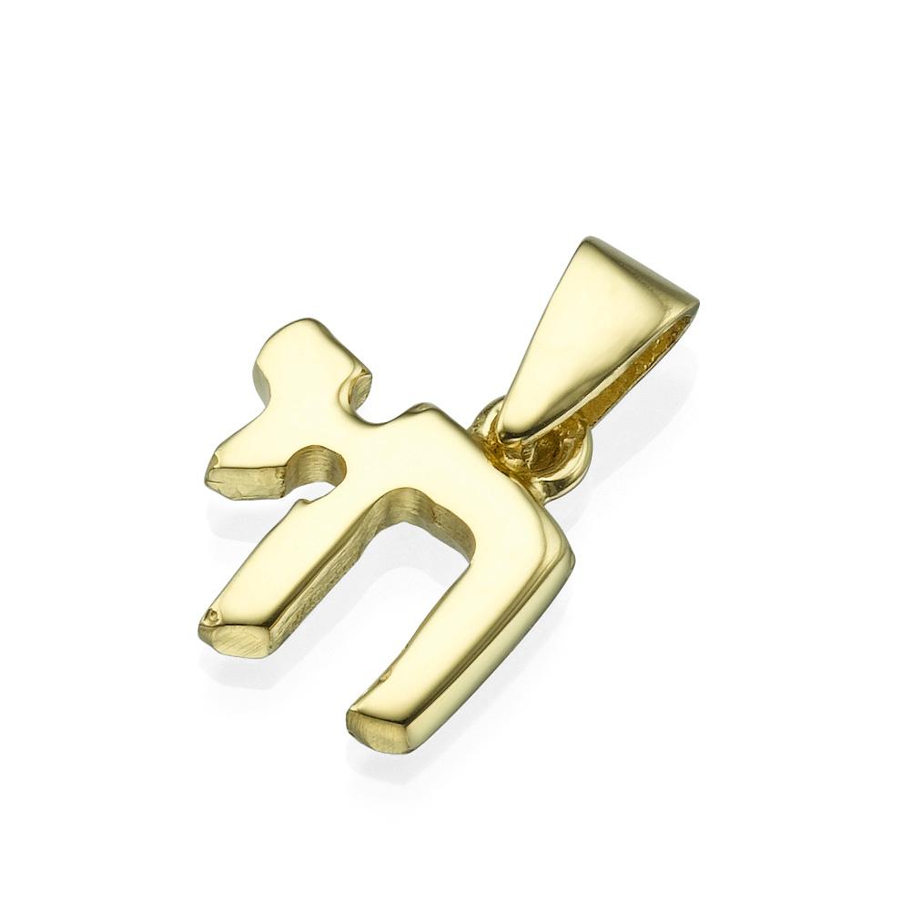 Chai Hai Small Size 14k Yellow Gold Pendant - Baltinester Jewelry