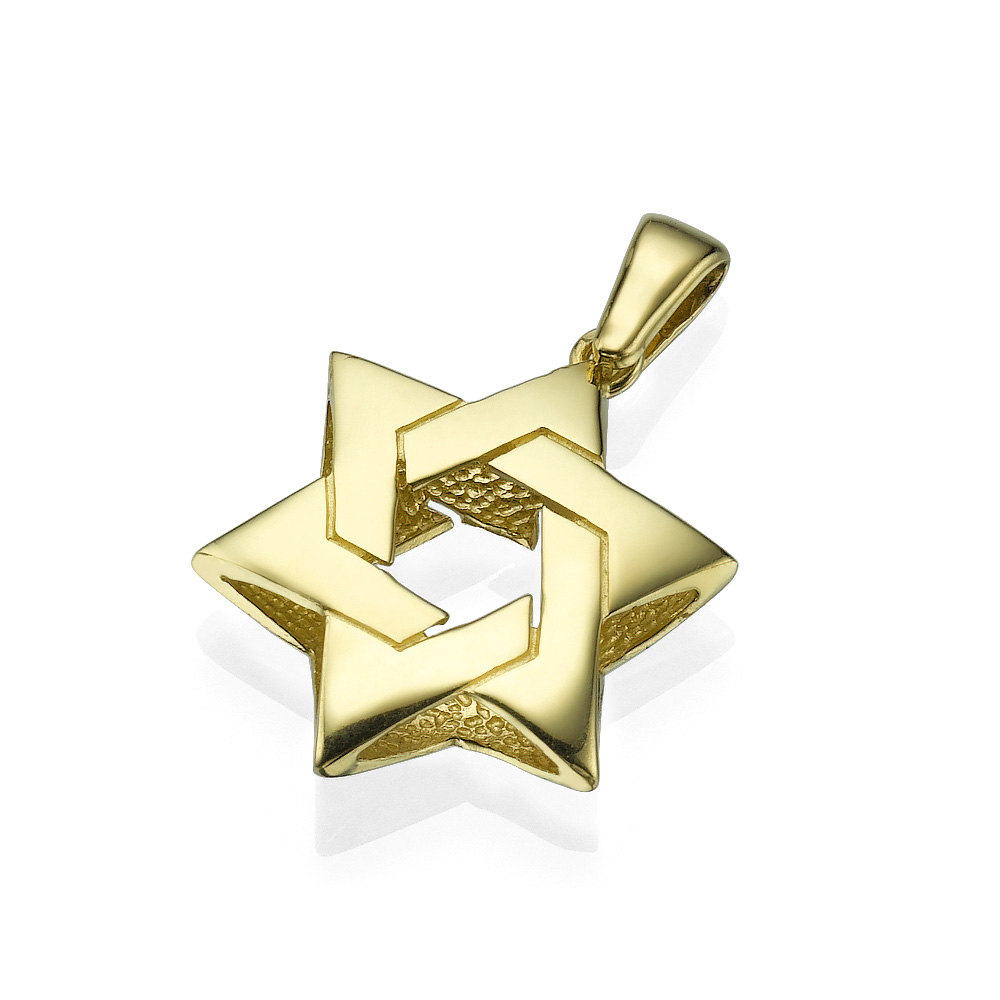 Pillow Intertwined 14k Gold Star of David Pendant - Baltinester Jewelry