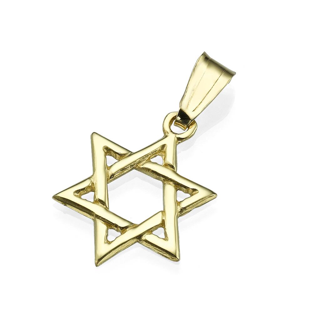 Interwoven Star of David 14k Yellow Gold Pendant - Baltinester Jewelry