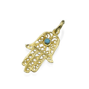 Filigree Turquoise Symmetric Hamsa 14k Gold Pendant - Baltinester Jewelry