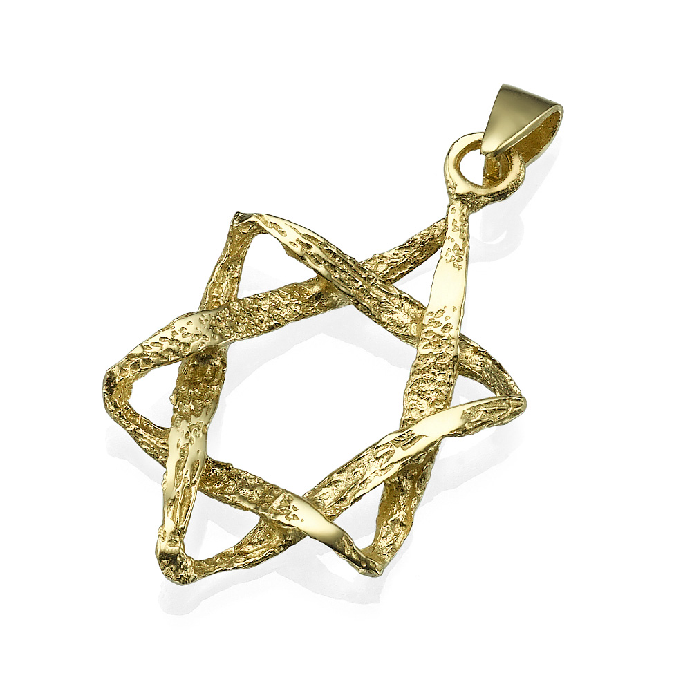 Hammered Woven Star of David 14k Gold Dual Finish - Baltinester Jewelry