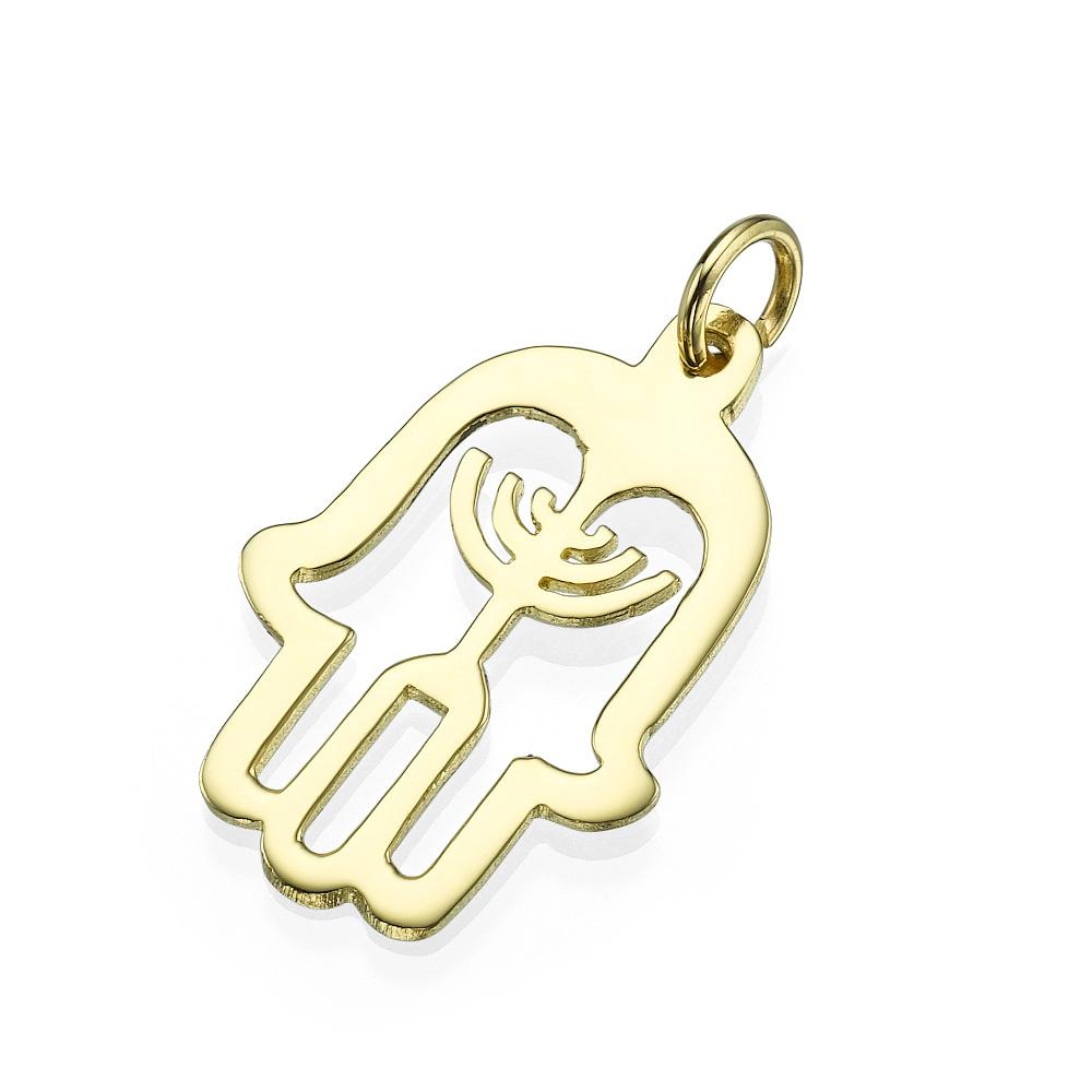 Hamsa Menorah 14k Yellow Gold Pendant - Baltinester Jewelry