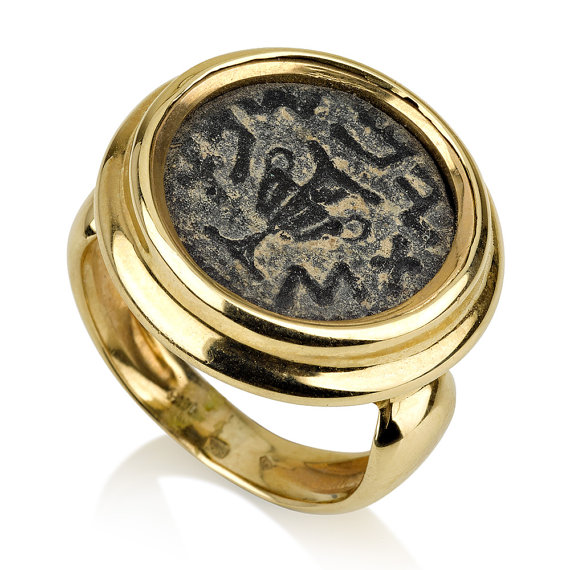 14k Yellow Gold Masada Ancient Coin Ring - Baltinester Jewelry