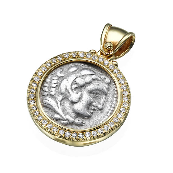 Diamond Alexander Ancient Coin 14k Yellow Gold Pendant - Baltinester Jewelry
