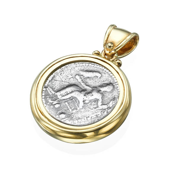 Diamond Alexander Ancient Coin 14k Yellow Gold Pendant 2 - Baltinester Jewelry