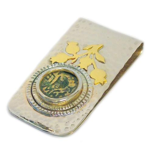 Silver and Gold Masada Coin Hammered Money Clip - Baltinester Jewelry