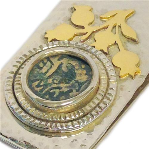Silver and Gold Masada Coin Hammered Money Clip 2 - Baltinester Jewelry