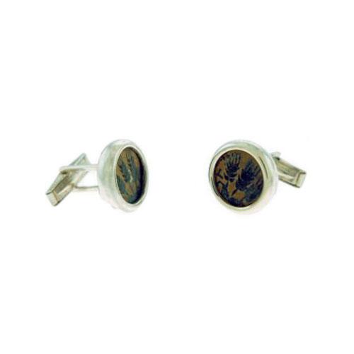 King Agrippa Coin Silver Cufflinks 2 - Baltinester Jewelry