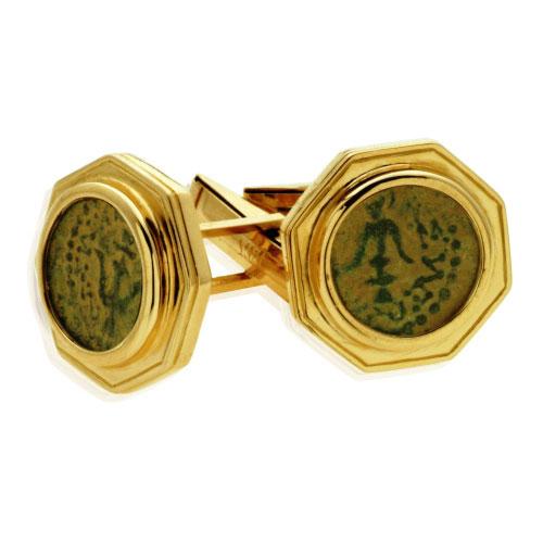 14k Gold Maccabean Coin Cufflinks - Baltinester Jewelry