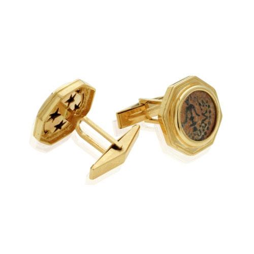 14k Gold Maccabean Coin Cufflinks 2 - Baltinester Jewelry