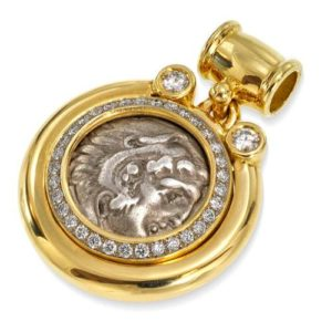 18k Gold and Diamond Alexander Coin Pendant - Baltinester Jewelry
