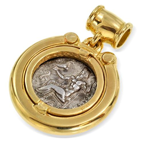 18k Gold and Diamond Alexander Coin Pendant 2 - Baltinester Jewelry