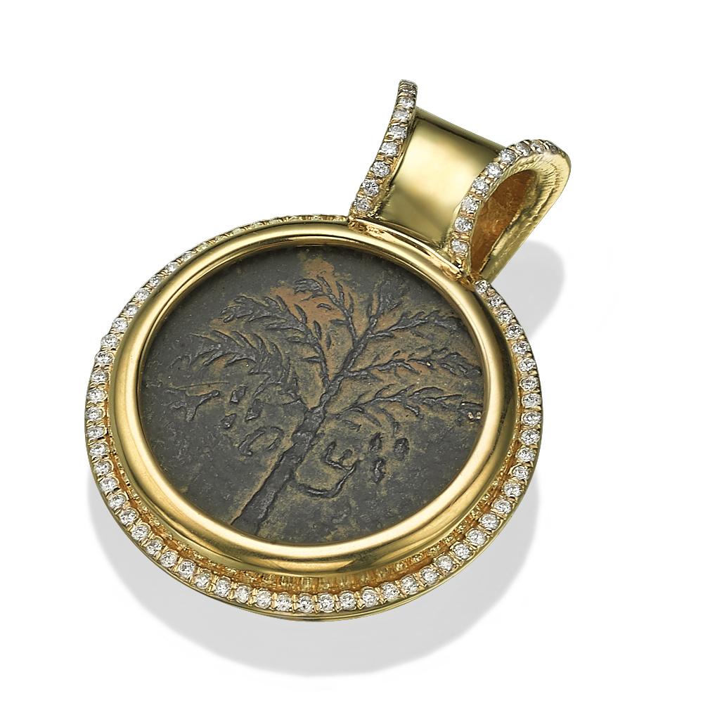 14k Gold Diamond Bar Kokhba Coin Pendant - Baltinester Jewelry