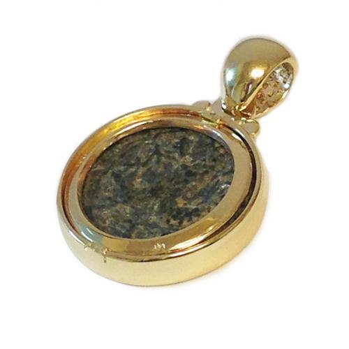 14k Gold Bar Kokhba Coin Diamond Round Pendant 3 - Baltinester Jewelry