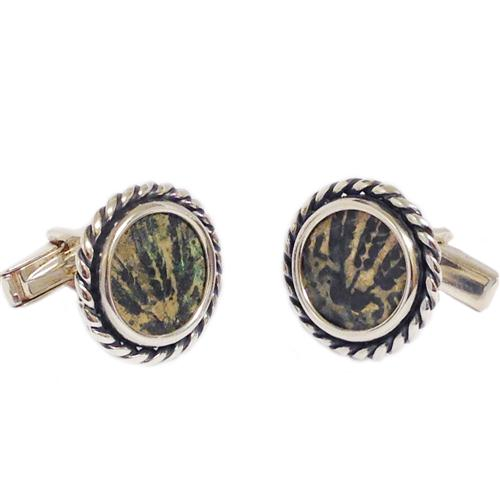 Sterling Silver Braided King Agrippa Coin Cufflinks - Baltinester Jewelry