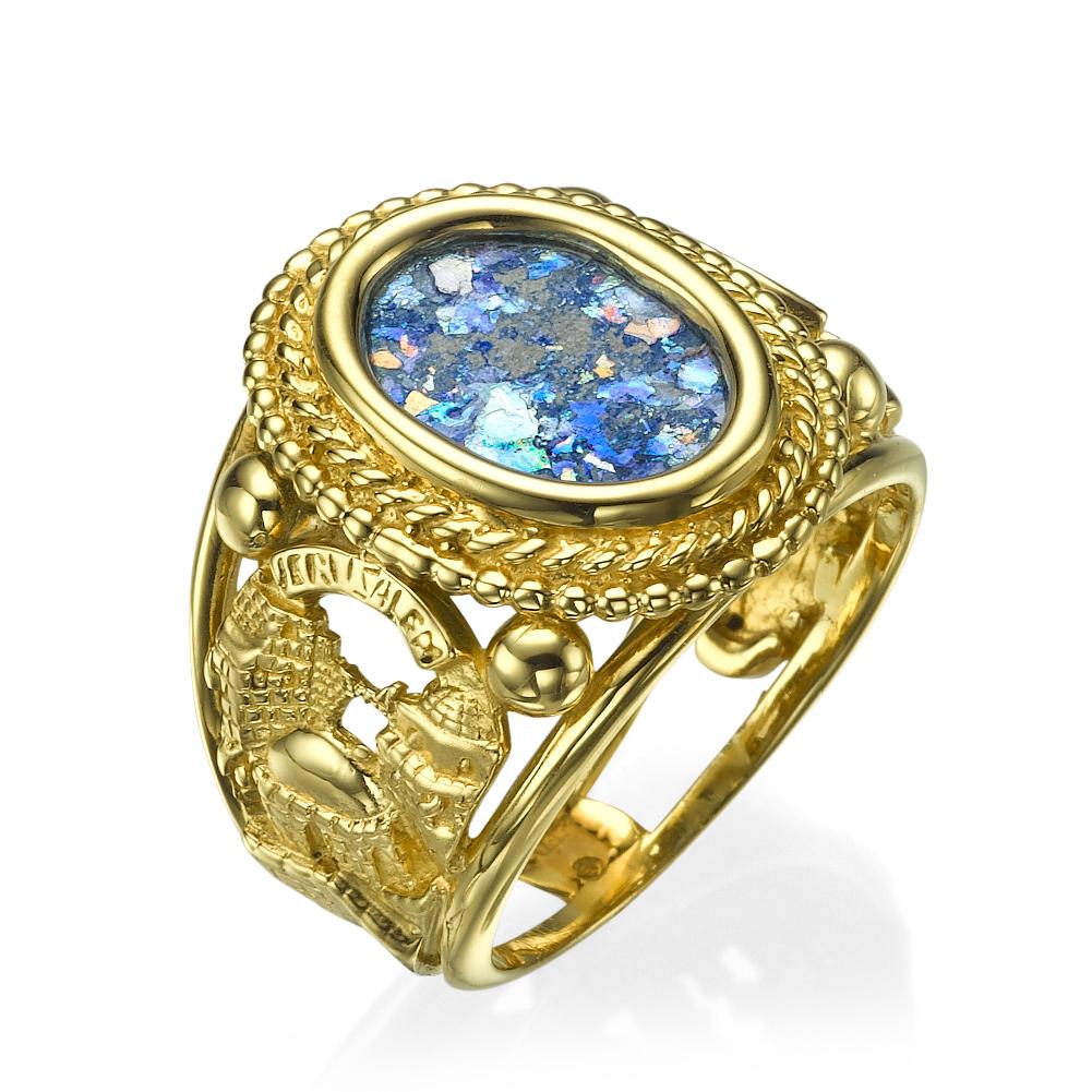 Roman Glass Jerusalem 3D Cutout Signet Ring 14k Yellow Gold - Baltinester Jewelry