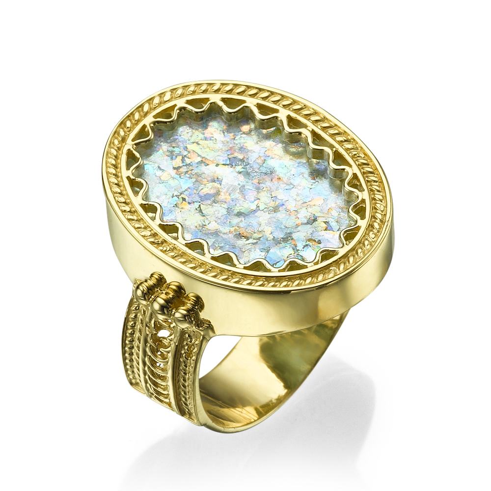 Yemenite Design 14k Gold Oval Roman Glass Ring - Baltinester Jewelry